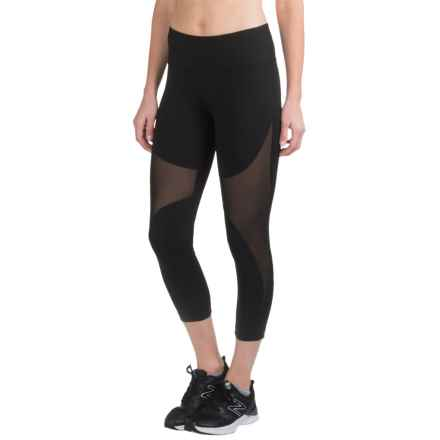 90 Degree by Reflex Print Running Capris (For Women) in Black/Black - Closeouts