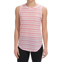 90 Degree by Reflex Relaxed Fit Muscle T-Shirt - Sleeveless (For Women) in Neon Pink Strp - Closeouts