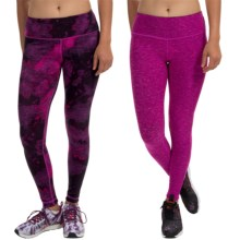 90 Degree by Reflex Reversible Printed Leggings (For Women) in Space Black Grey Pink/Magenta Space Dye - Closeouts