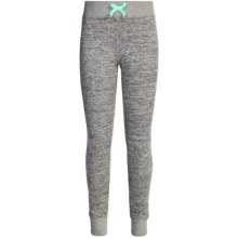 90 Degree by Reflex Shimmer Joggers (For Big Girls) in Heathered Grey / Soft Mint - Closeouts
