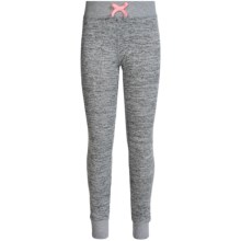 90 Degree by Reflex Shimmer Joggers (For Big Girls) in Heathered Grey / Soft Pink - Closeouts