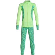 90 Degree by Reflex Space-Dye Jacket and Leggings Set (For Little Girls) in Neon Lime/Aqua Lime Space Dye - Closeouts