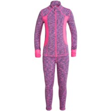 90 Degree by Reflex Space-Dye Jacket and Leggings Set (For Little Girls) in Pink Purple Space Dye/Neon Fuchsia - Closeouts