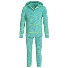 90 Degree by Reflex Space-Dyed Jacket and Leggings Set (For Little Girls) in Aqua Lime Space Dye - Closeouts