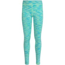 90 Degree by Reflex Space-Dyed Leggings (For Big Girls) in Aqua Lime Space Dye/ Silver - Closeouts