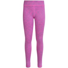 90 Degree by Reflex Space-Dyed Leggings (For Big Girls) in Fuchsia Fusion Space Dye/ Silver - Closeouts