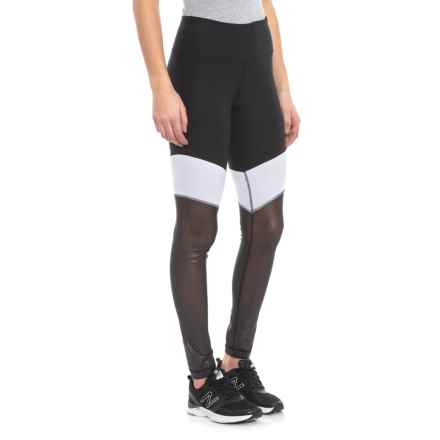 9ff931a769 90 Degree by Reflex Tri-Color Metallic Mesh Leggings (For Women) in White