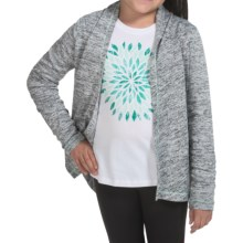 90 Degree by Reflex Tulip Open Cardigan Wrap Sweater (For Big Girls) in Heathered Grey/ Soft Mint - Closeouts