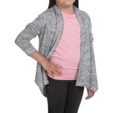 90 Degree by Reflex Tulip Open Cardigan Wrap Sweater (For Big Girls) in Heathered Grey/ Soft Pink - Closeouts