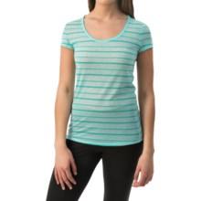 90 Degree by Reflex Wide Stripe Shirt - Short Sleeve (For Women) in Dark Jade Stripe - Closeouts