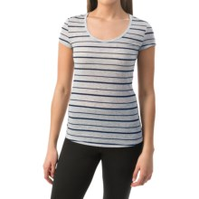 90 Degree by Reflex Wide Stripe Shirt - Short Sleeve (For Women) in Navy Stripe - Closeouts