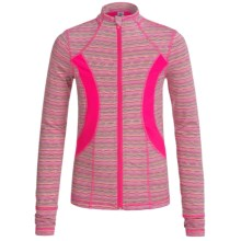 90 Degree by Reflex Zigzag Stretch-Knit Jacket - Mock Neck, Full Zip (For Big Girls) in Neon Pink Lime Combo/Molten Pink - Closeouts