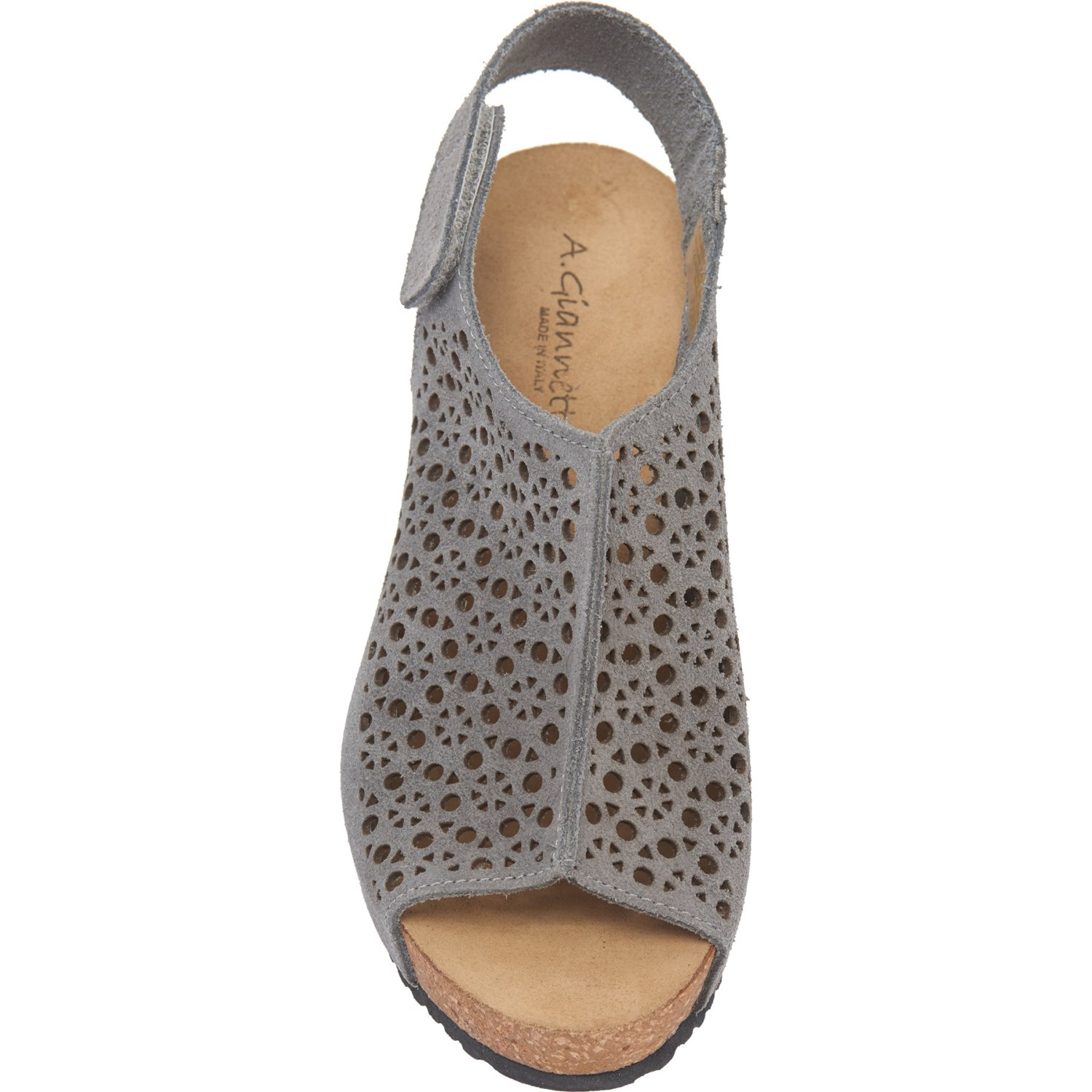 fc4acf9267 A. GIANNETTI Made in Italy Laser Perforated Wedge Sandals - Suede (For  Women)