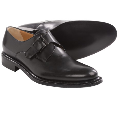A. Testoni Buckle Leather Shoes - Slip-Ons (For Men) in Black