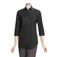 A Woman Stretch Cotton Tunic Shirt - 3/4 Sleeve (For Women) in Black - Closeouts