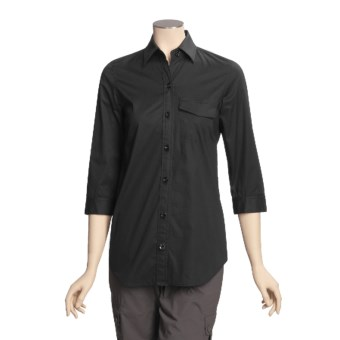A Woman Stretch Cotton Tunic Shirt - 3/4 Sleeve (For Women) in Black