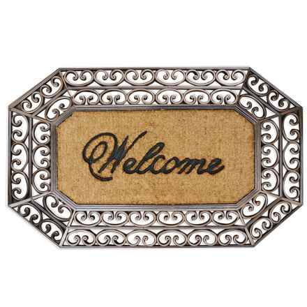 "A1HC First Impression Rubber Coir Welcome Mat - 23x38"" in Scroll Welcome - Closeouts"