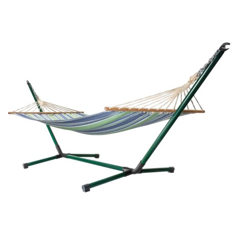 ABO Gear Oolaroo Portable Hammock with Stand in Turquoise/Lime/Blue Stripe