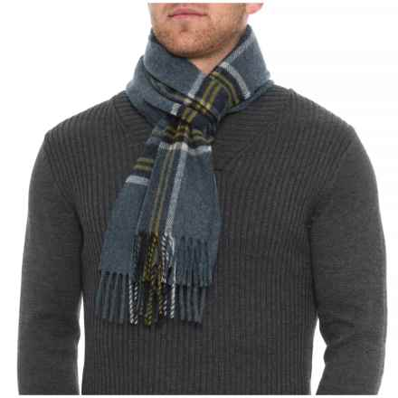 Abraham Moon & Sons Blue Plaid Scarf - Merino Wool (For Men) in Blue/Navy/Gold/White - Overstock