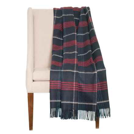 """Abraham Moon & Sons Plaid New Wool Throw Blanket - 56x70"""" in Navy - Closeouts"""