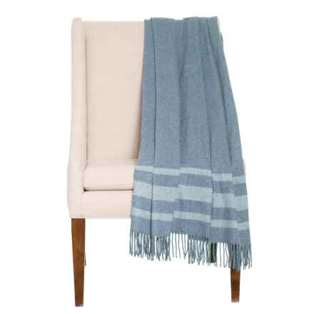 "Abraham Moon & Sons Seville Stripe Lambswool-Angora Throw Blanket - 54x70"" in Blue - Closeouts"