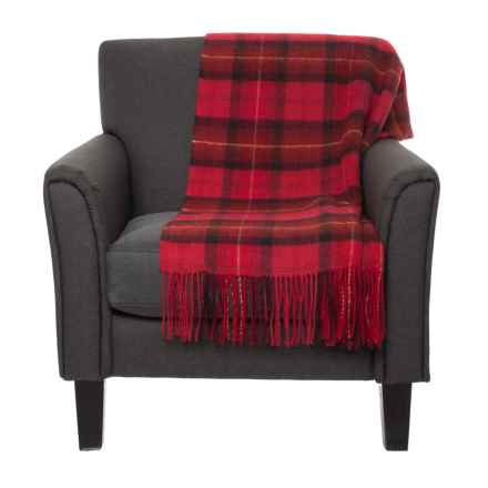 "Abraham Moon & Sons Shetland Lambswool Tartan Plaid Throw Blanket - 56x70"" in Red - Closeouts"