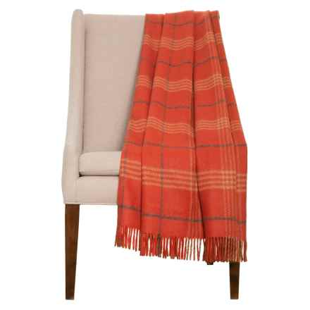 "Abraham Moon & Sons Windowpane Plaid Wool Throw Blanket - 51x71"" in Red - Closeouts"
