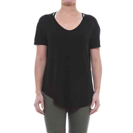 ABS Allen Schwartz ABS by Allen Schwartz Cold-Shoulder T-Shirt - Short Sleeve (For Women) in Black - Closeouts