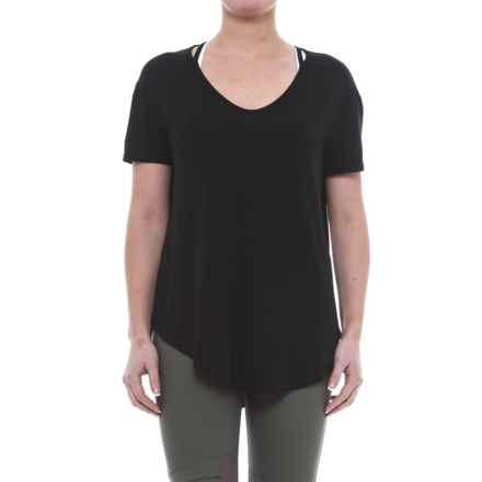 ABS Allen Schwartz ABS by Allen Schwartz Cold-Shoulder T-Shirt - Short Sleeve (For Women) in Black - Closeouts