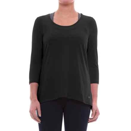 ABS Allen Schwartz ABS by Allen Schwartz Hi-Low T-Shirt - 3/4 Sleeve (For Women) in Black W/Black Mesh - Closeouts