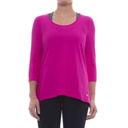 ABS Allen Schwartz ABS by Allen Schwartz Hi-Low T-Shirt - 3/4 Sleeve (For Women) in Fuschia W/Fuschia Mesh - Closeouts