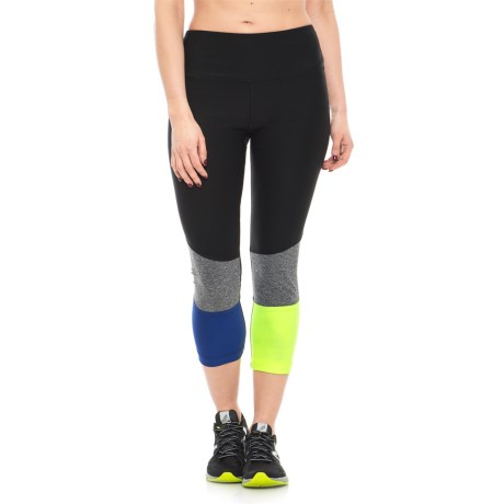 ABS Allen Schwartz Color-Block Capri Leggings For Women) in Blue Green