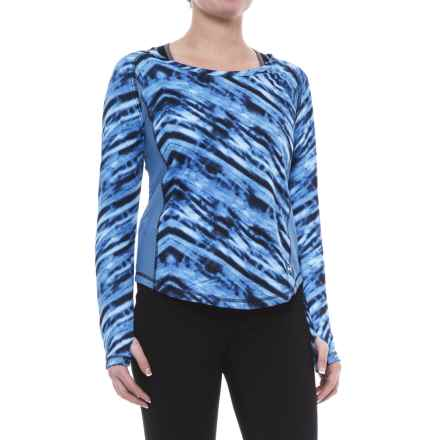 ABS by Allen Schwartz Dual Printed Shirt - Long Sleeve (For Women) in Indigo - Closeouts