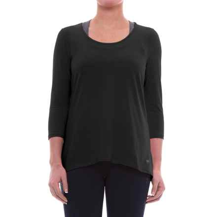 ABS by Allen Schwartz Hi-Low T-Shirt - 3/4 Sleeve (For Women) in Black W/Black Mesh - Closeouts
