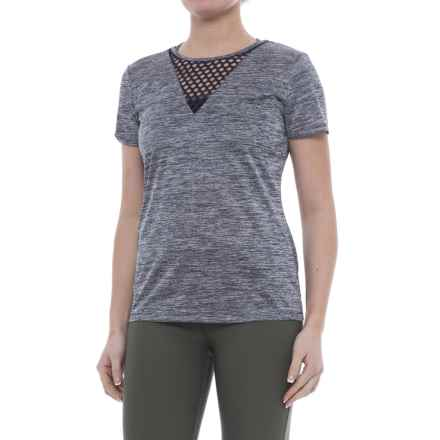 ABS by Allen Schwartz Lattice Insert T-Shirt - Short Sleeve (For Women) in Heather Navy - Closeouts
