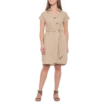 9d7a8fd07ec0 ABS Collection Sand Button-Front Dress with Tie Waist - Short Sleeve (For  Women
