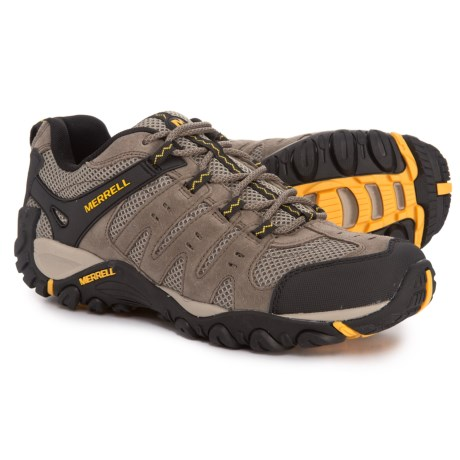 Overstock. Merrelland#39;s Accentor hiking shoes are great for long days on your feet whether exploring a new city or finding new dirt paths thanks to the shock-absorbing Air Cushion heel pod and the Sticky Rubber outsole. Available Colors: BOULDER/OLD GOLD. Sizes: 9, 9.5, 10, 10.5, 11, 11.5, 12, 13.