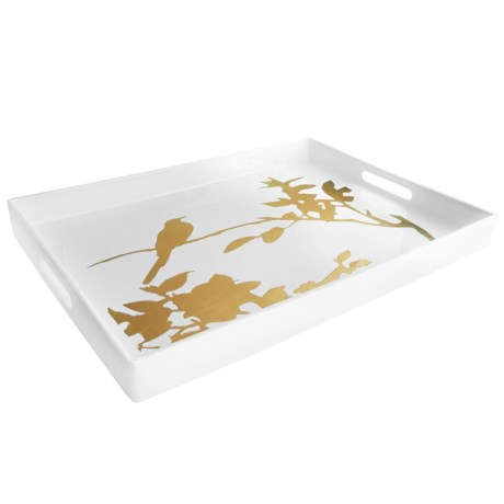 "Accents by Jay Rectangular Bird Graphic Serving Tray - 14x19"" in White/Gold"