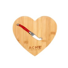Acme Party Box Heart-Shaped Cutting Board and Cheese Knife in Wood - Closeouts