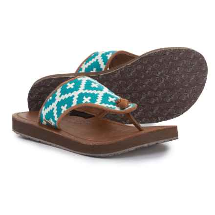 Acorn Artwalk Leather Flip-Flops (For Women) in Turquoise/Cream Southwest - Closeouts