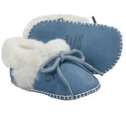 Acorn Baby Ewey Moc Slippers - Sheepskin-Wool (For Toddlers) in Warm Blue
