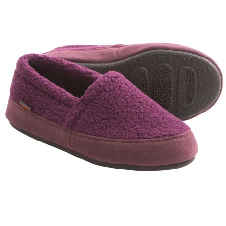 Acorn Berber Tex Moccasin Slippers (For Women) in Plum