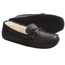 Acorn Bison Leather Slippers - Faux Fur Lining (For Men) in Black - Closeouts