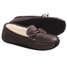 Acorn Bison Leather Slippers - Faux Fur Lining (For Men) in Dark Brown - Closeouts