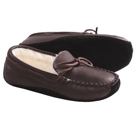 Acorn Bison Leather Slippers - Faux Fur Lining (For Men) in Black