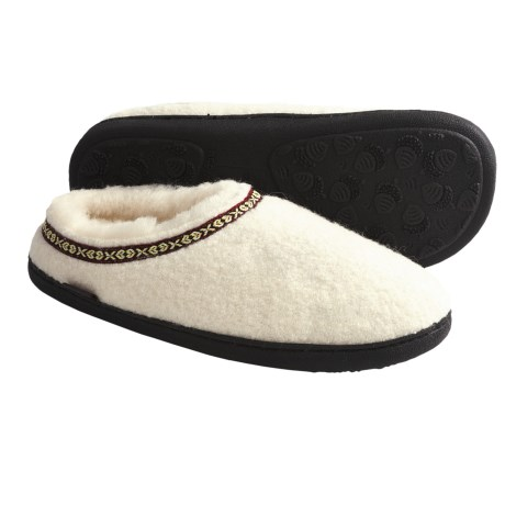Acorn Boiled Wool Mule Slippers (For Women) in Ivory