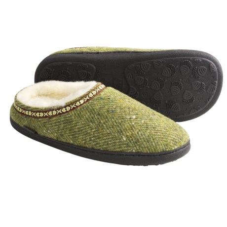 Acorn Boiled Wool Mule Slippers (For Women) in Moss Herringbone