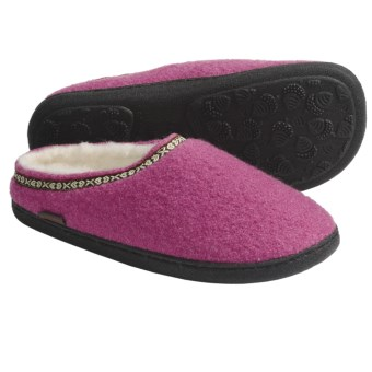 Acorn Boiled Wool Mule Slippers (For Women) in Winter Pink