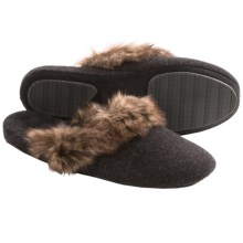 Acorn Cashmere Mule Slippers - Faux-Fur Trim (For Women) in Charcoal - Closeouts