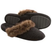 Acorn Cashmere Mule Slippers - Faux-Fur Trim (For Women) in Derby Grey - Closeouts
